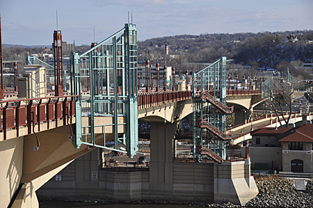 Large Depth of Field with a short telephoto.  Wabasha Street bridge over Mississippi River, Saint Paul, Minnesota, March 2012.  Nikon D700, 85mm lens, 1/400th at f/8, ISO 200.  Photo by Matthew Cole.